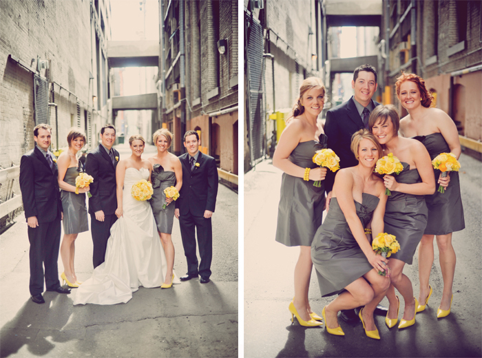 LOVE LOVE LOVE the gray and bright yellow And check out those shoes